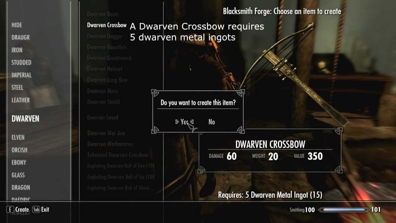 Skyrim How To Craft The Enhanced Dwarven Crossbow Youtube