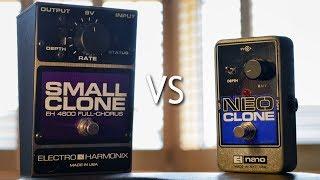 electro harmonix Small Clone vs Neo Clone - comparison demo of 6 Sample settings