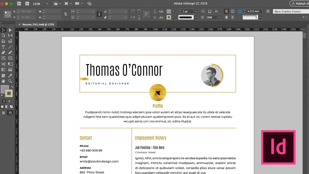 Free Resume Template For Adobe Indesign Youtube