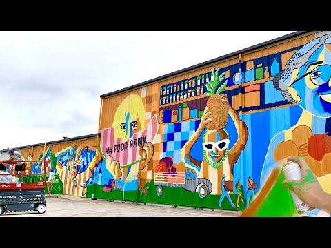 MURAL Paintin' at NH FOOD BANK! Largest mural yet! Mural Process VideoO!