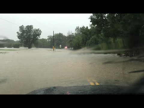LIVE next to dangerous flash flood Jenks, OK on Hager Creek!