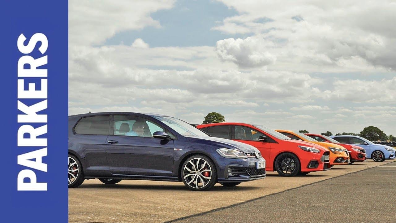 Drag Race Civic Type R Vs Focus Rs Vs Megane Rs Vs Golf Gti Vs I30 N Which Is Fastest Youtube