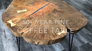 50+ year old growth pine cookie coffee table live edge slab epoxy resin and bowtie splints hairpins