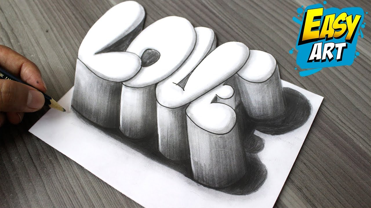 Super Facil ▻ How to Draw 3D LOVE Letters BUBBLE │Como Dibujar ...