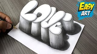 Super Facil ► How to Draw 3D LOVE LETTERS│Como Dibujar Amor 3D  │Dibujos de Amor 3D