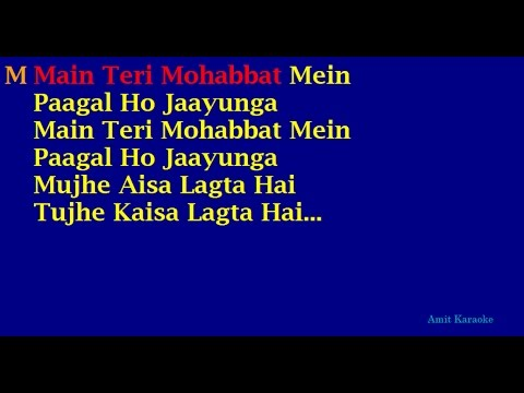Main Teri Mohabbat Mein - Md Aziz-Sadhana Sargam Duet Hindi Full Karaoke with Lyrics