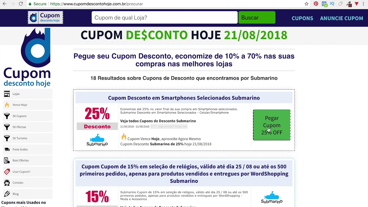 9d9e7ed0b73e3 Cupom Desconto Submarino - 10% a 70% OFF - Grátis