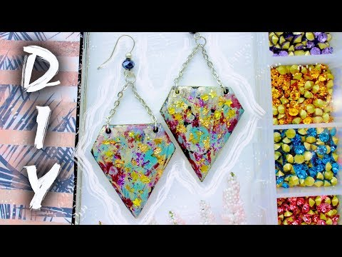 ∇ Glossy Earrings with Epoxy Resin ∇ EASY DIY ∇