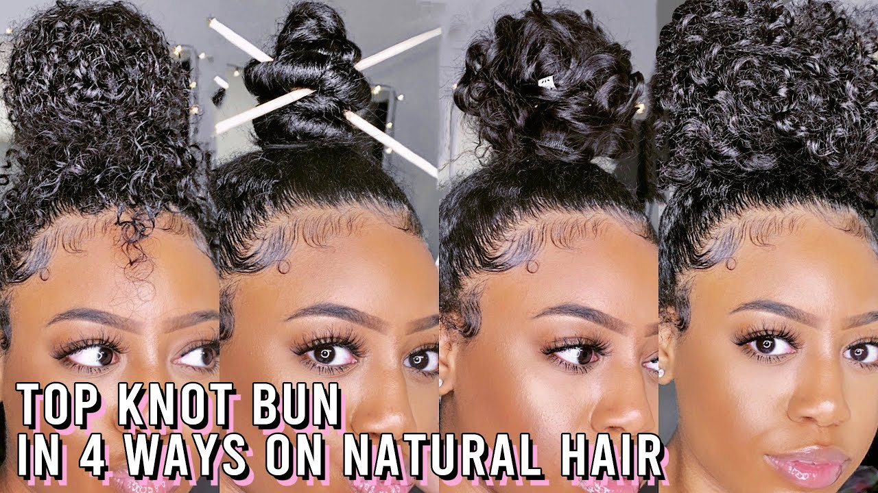 TOP KNOT BUN IN 4 WAYS ON NATURAL HAIR + EXTENSIONS | CURLY, NINJA, & WAVY HIGH BUN | Baili Nicole
