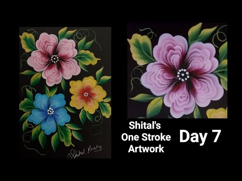 Beginners Guide |Simple Flowers In One Stroke Painting Day 7