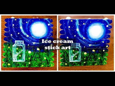 Ice cream Stick Wall Hanging Popsicle Stick Art for Kids Ice cream stick artwork Landscape painting
