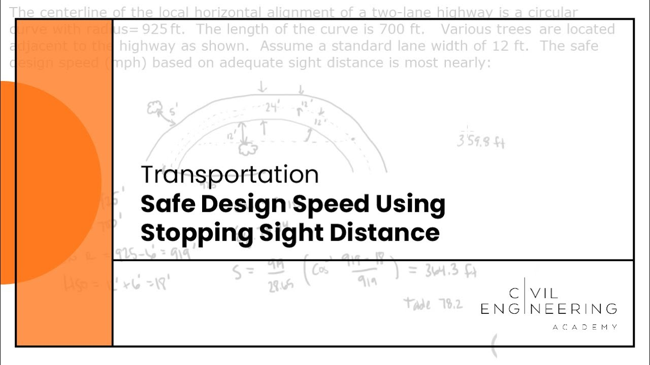 Transportation Safe Design Speed Using Stopping Sight Distance