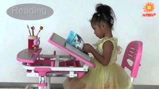 видео Парта для ребенка Эво-Кидс Эво-18 (с лампой) Blue New
