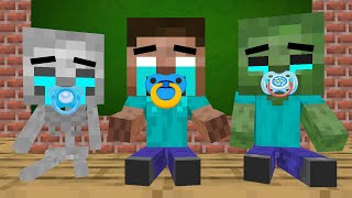 Monster School : When Monster school became baby - minecraft animation