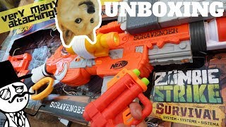 Nerf Scravenger Review: Anti Zombie Nerf Gun. A Nerf Scavanger + New Nerf Zombie Strike Attachments