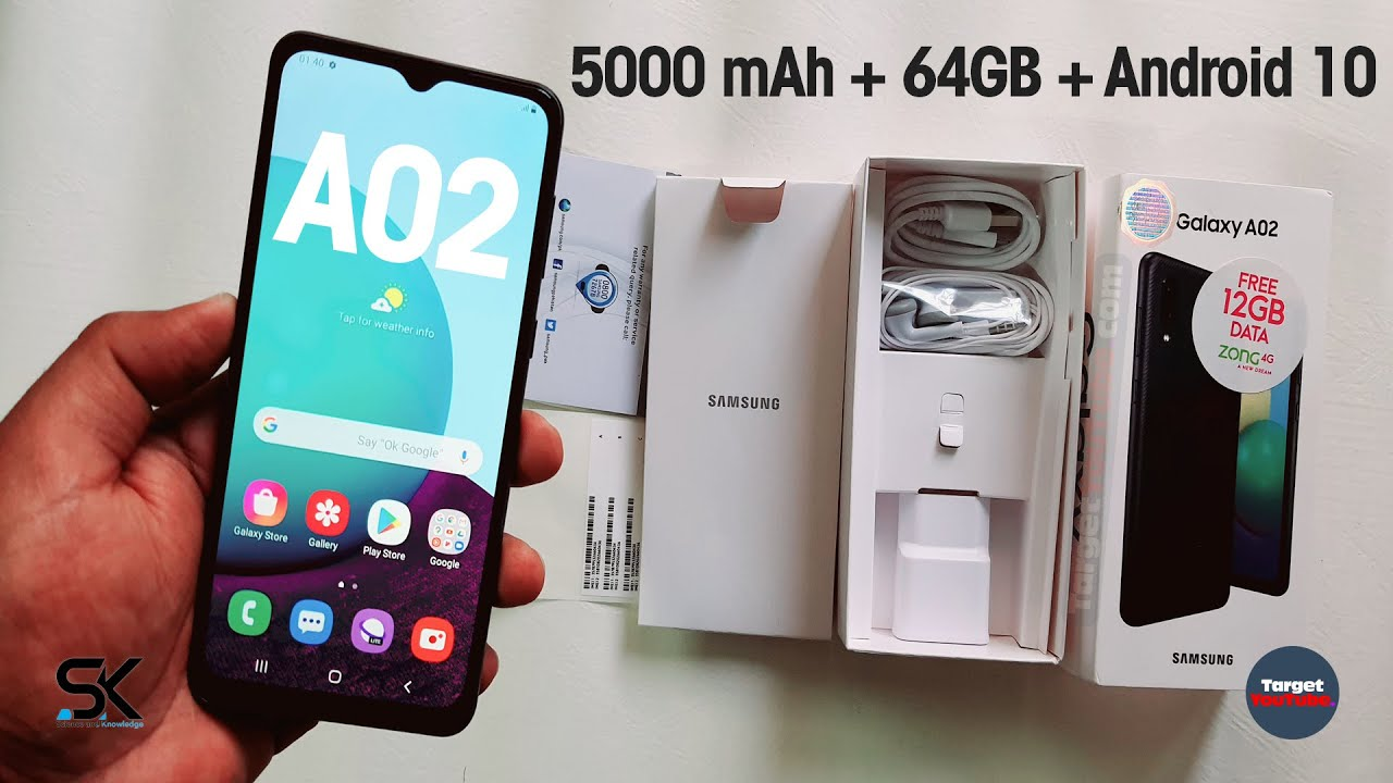 Samsung Galaxy A02 Unboxing Hands-On | 5000 mAh Battery, 64GB ROM, Android 10