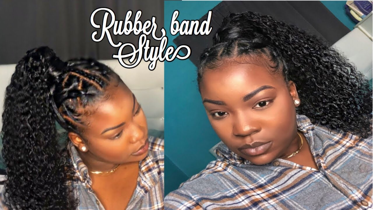 Rubber Band Method High Curly Ponytail On Natural Hair Youtube