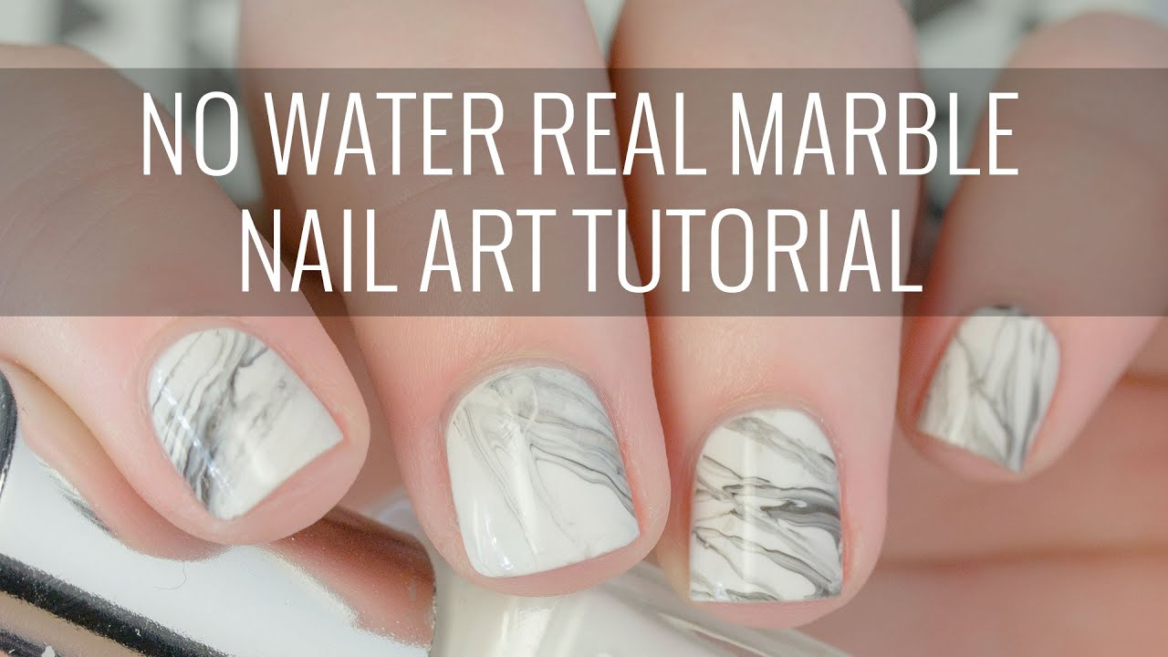 Real White Marble Nail Art Tutorial | NO WATER Involved! | The ...