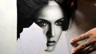Speed drawing portrait of Nina Dobrev  The Vampire Diaries by Ellen Sunbeam