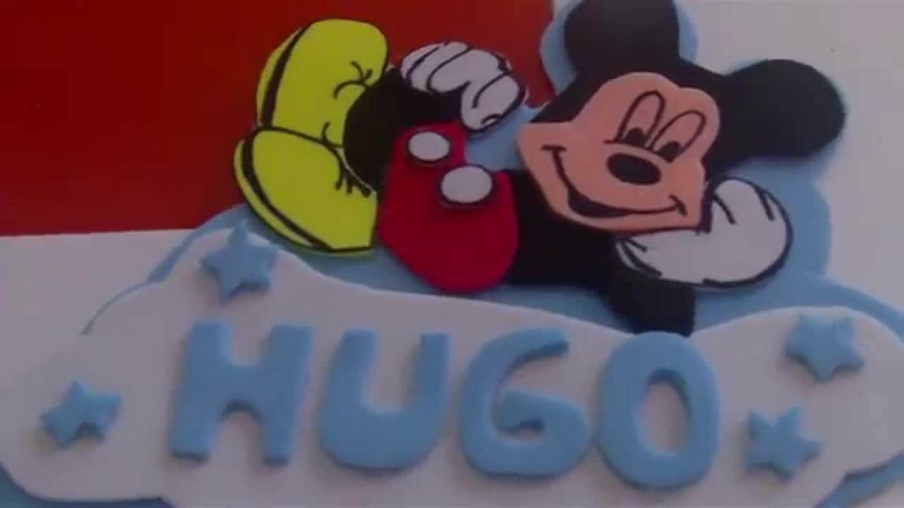 Letrero De Mickey Mouse De Goma Eva Con Plantilla Youtube
