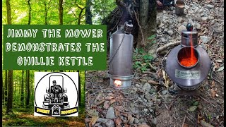 Ghillie Kettle review demonstration making tea by Jimmy the Mower - Kelly rocket stove bushcraft UK