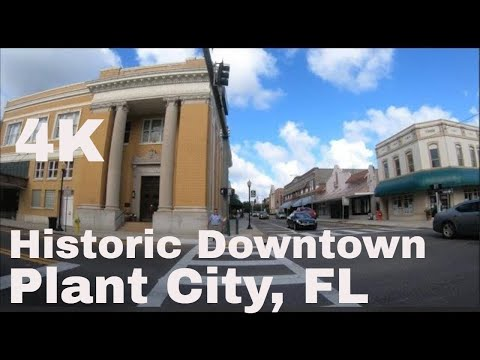 A walking tour of historic  downtown Plant City, Florida in 4K Ultra HD