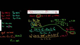STATISTICS I T-Test On Difference Between Means With Equal Variances I Part 2