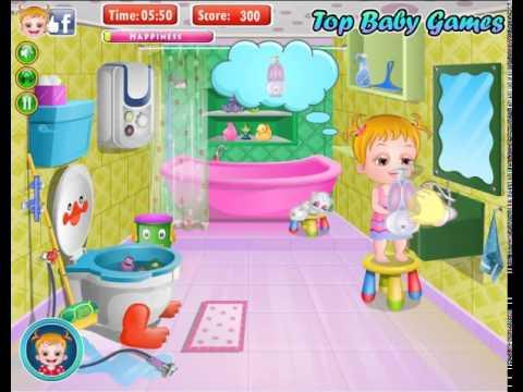 Hazel limpia el baño - Baby Hazel bathroom hygiene - YouTube