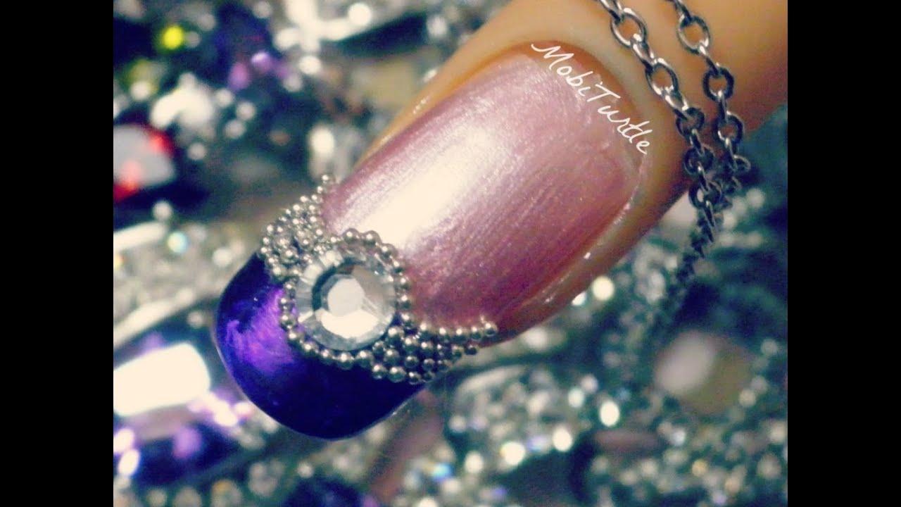 3d Purple Pink Acrylic Jwel Beads Design Rhinestones Nail Art 1