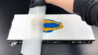 acrylic pouring  - Center Swipe - blue and yellow