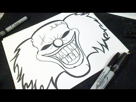 Cómo dibujar un Rostro de Payaso Graffiti - YouTube