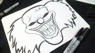 Cómo dibujar un Rostro de Payaso Graffiti