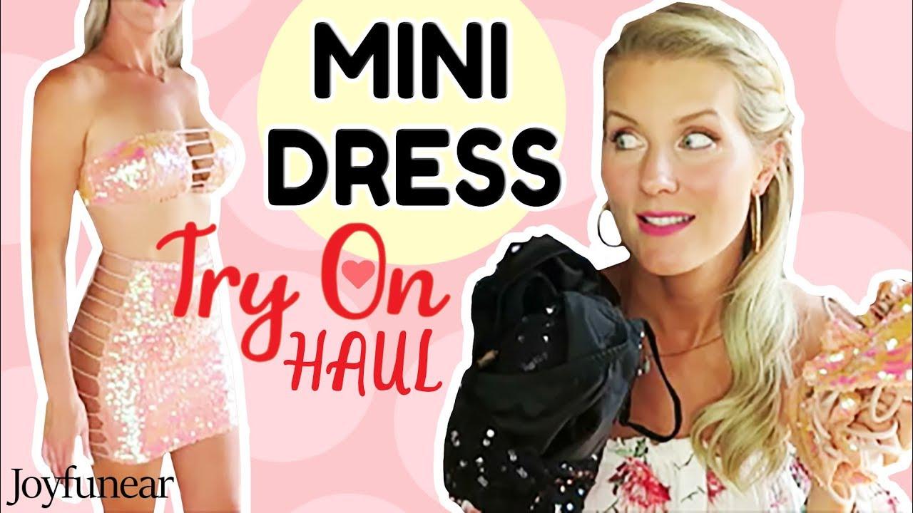 28750a23c8e MINI DRESS TRY ON HAUL | New Joyfunear Dresses! - YouTube