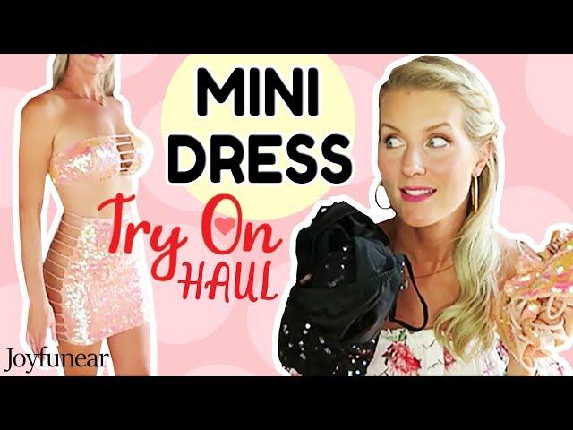 ba68ad6cc27 MINI DRESS TRY ON HAUL | New Joyfunear Dresses!