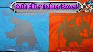 opening both xy evolutions elite trainer boxes blastoise charizard pokemon tcg unboxing review