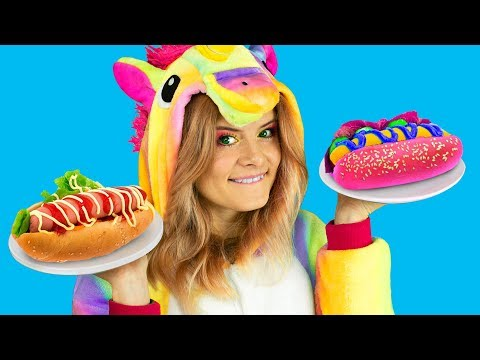 real-food-vs-amazing-unicorn-food-challenge-!---vraie-nourriture-ou-nourriture-pour-licorne-?