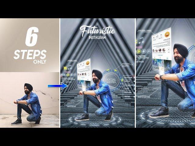 Futuristic Instagram Viral Editing | Photo Editing Tutorial in Mobile | Hindi