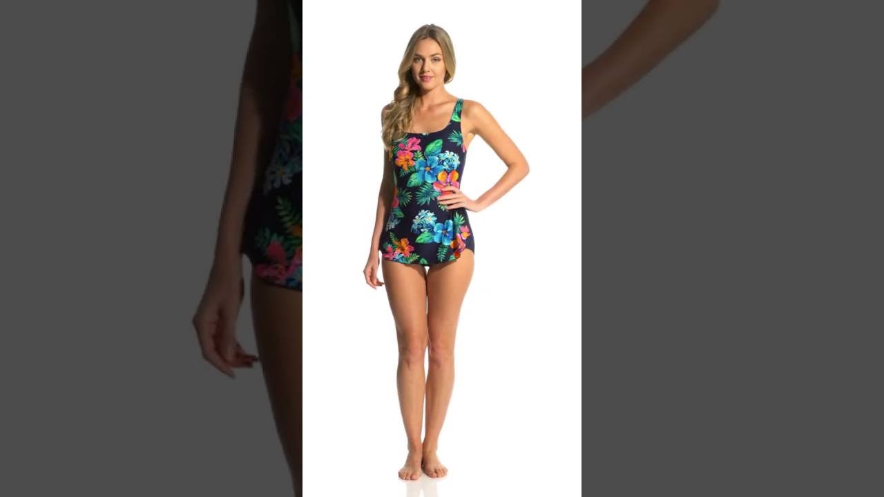 61ffa67359993 Gabar Painted Flower Square Neck Sarong One Piece Swimsuit ...