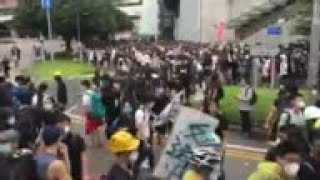 Tension as HK police and protesters face off