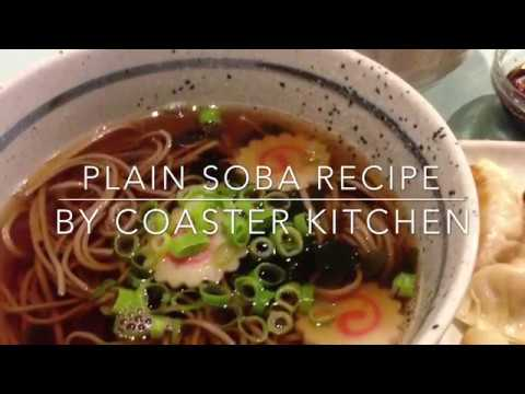 Soba Noodles Soup with Green spinach and Mushrooms