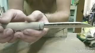 нож откованный из гаечного ключа на 22 , тэст !