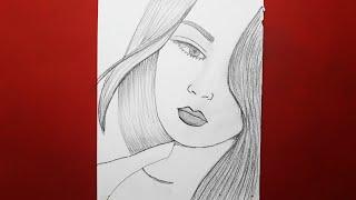 Basit Güzel Kadın Nasıl Çizilir / How To Draw A Girl For Beginners || Pencil Sketch