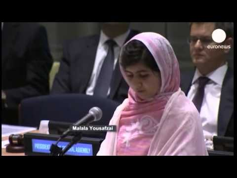 16 year old Malala gets standing ovation from UN assembly