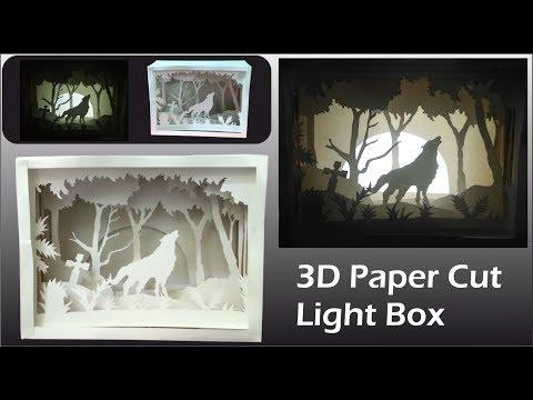 3D Paper Cut Light Box - Amazing DIY Room Decor Easy Crafts Idea