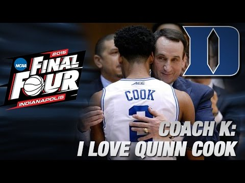 Emotional Coach K Describes Bond With Quinn Cook | Duke In The Final Four