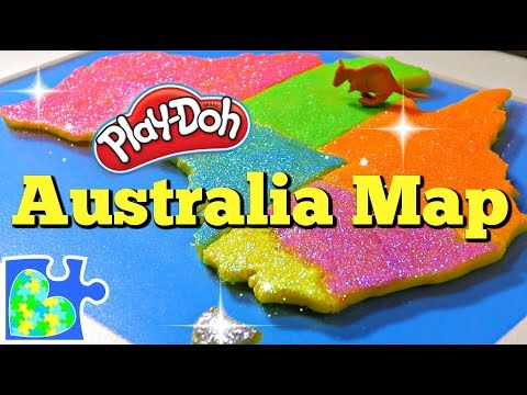 Map of Australia for Kids! Learn about Australia: Amazing Play-Doh Puzzle of the Country!