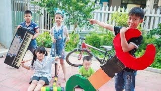 Sky Go To School | Sky and close friends repair bicycles , cars and play games in Toys City