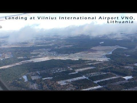 Landing at Vilnius International Airport VNO, Lithuania