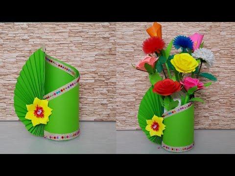 DIY HOW TO MAKE FLOWER VASE   DIY PAPER CRAFT   Easy Paper Flower Vase