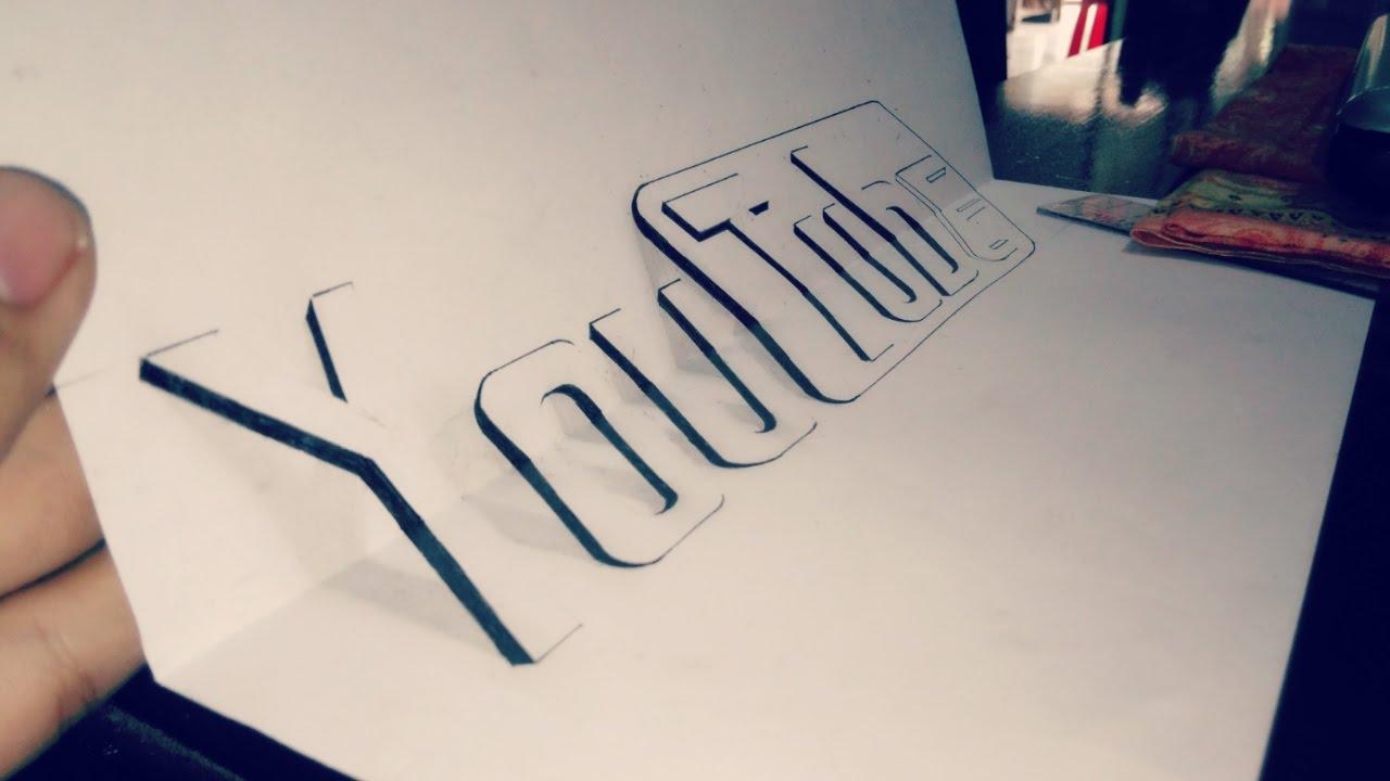 """Vẽ 3D chữ """"YouTube"""", 3D Đẹp và đơn giản    Đa Dạng channel"""
